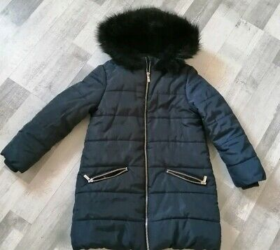 Girls 7-8 Navy Coat Black Faux Fur Hood And Lining Zip Up & Pockets Hardly Worn