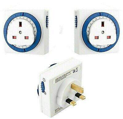 3 x 24hr Plug In Timer Switch Clock 13amp Mains Socket Compact