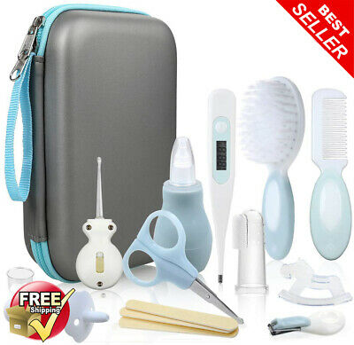 Baby Healthcare Kit, Grooming Kit Pouch Set Brush Comb Thermometer