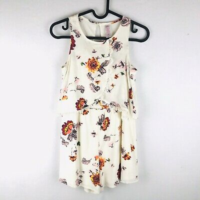 Justice Youth Girls Size 12 Beige Floral Sleeveless Romper Smocked Lightweight