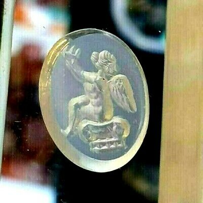 Ancient Blue Agate Intaglio Lovely Cupid Angel Holding Cake Signet Pendant