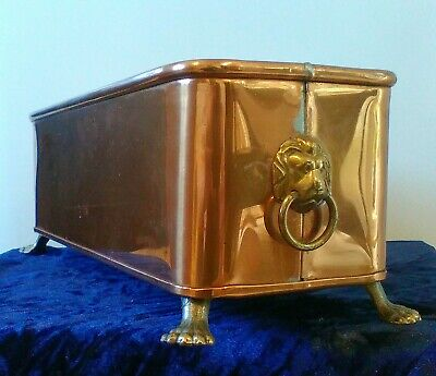 Antique Copper and Brass Lion Ring Handled Rectangle Planter With Feet