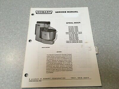 Hobart Spiral Mixer Service Manual