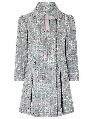 Monsoon Grey Tweed Party Dress Winter Jacket Coat Age 3 to 13 Yrs rrp £57