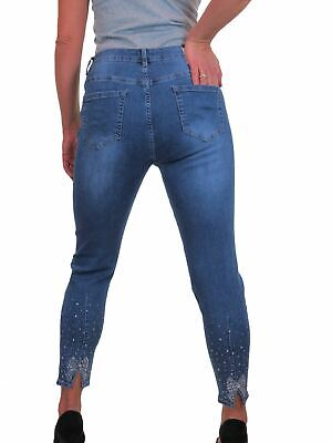 Womens Straight Leg Crop Ankle Stretch Denim Jeans Fade Wash Blue 10-22