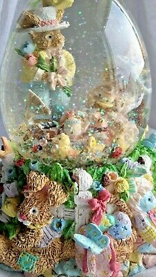 Easter Egg Shaped Snowdome Globe Musical Grampa W/Flowers Tea Party Bunny Rabbit