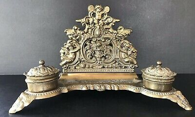 Antique Brass Double Inkwell Cherub Rococo Ornate Baroque Made In Italy