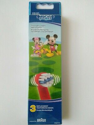 Oral-B Stages PowerKids Mickey Replacement Toothbrush Heads by Braun - Pck of 3
