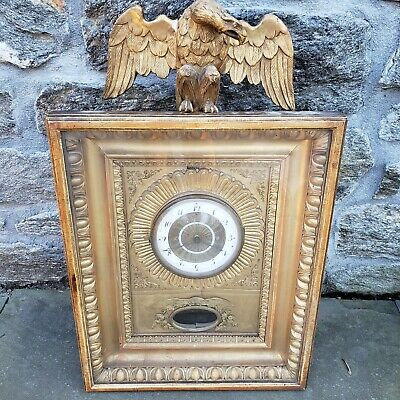 """Antique Biedermeier Wall Clock with Gilt Carved Wooden Eagle Finial ~ 26"""""""