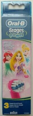 Oral-B Power Kids Stages Disney Princess New Replacement Toothbrush Heads Pack 3