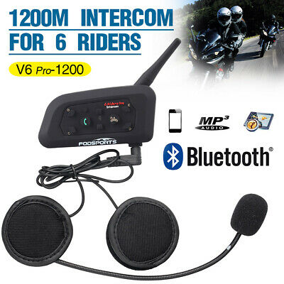 1200M V6 Motorrad Sprechanlage Bluetooth Helm Gegensprechanlage Intercom Headset