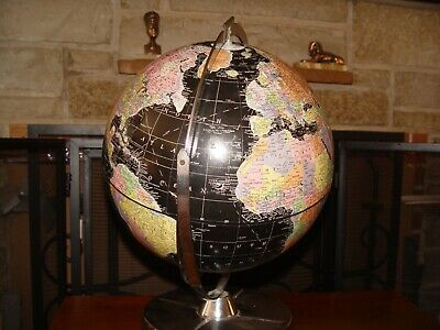 vintage world globe nice colors base stainless steel by britanica encyclopedia