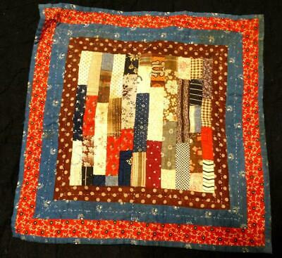 """Amazing Early Primitive Hand stitched Doll Quilt 11.5"""" x 11.5"""""""