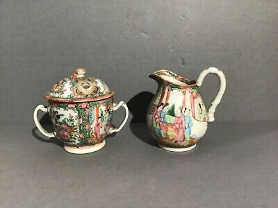 Rose Medallion, Chinese Export, Famille Rose Pattern sugar and creamer