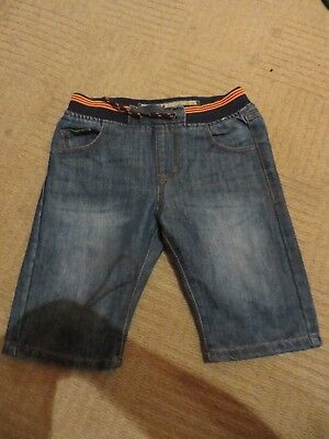 boy boys denim blue shorts elastic cuff waist age 9-10 years