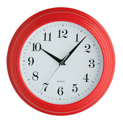 Premier Housewares Vintage Home Wall Clock Red Plastic Analogue