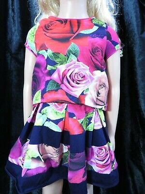 Girls Ted Baker Roses purple mix outfit Top with matching skirt  Age 5 years
