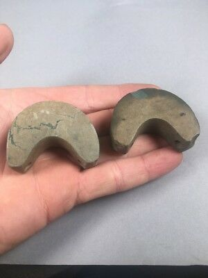 Pair Of Precolumbian Ancient Atlatl Thumb Rests Nice Bead Pendant Birdstone