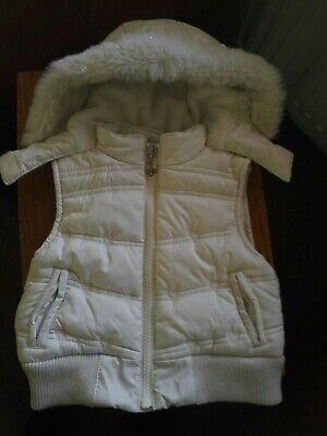 Girls White Padded Gilet Marks And Spencer Age 6-9 Months