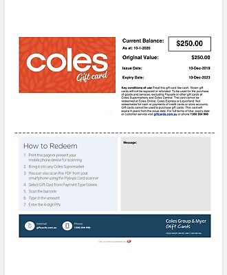 Coles Gift Card $250 Value Immediate Free Digital Delivery Valid Until Dec 2023