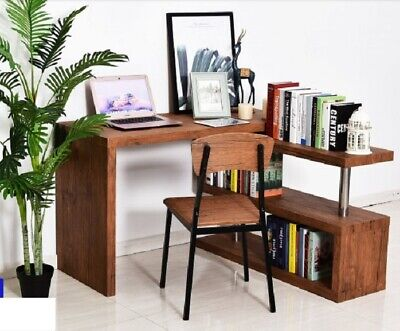 Modern Corner Desk Office Wooden Brown PC Table With Rotate Bookcase Console New