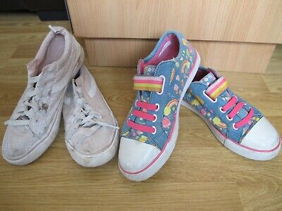 2 x Shoes Clarks Primark size 2 F canvas girl doodle Lace Velcro Fastening #7