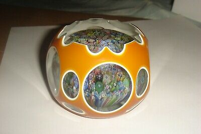 Perthshire Paperweight 1981 Amber Double Overlay Close Pack Millefiori