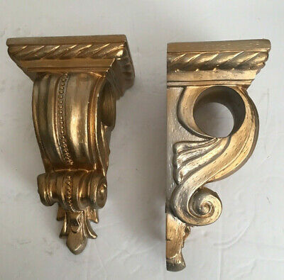 Pair Floating Wall Shelf Shelves Gold/Silver Beaded Scroll French Ornate Baroque