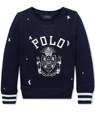 Nwt Polo Ralph Lauren Girls Cotton Navy Logo Print French Terry Pullover Size 5