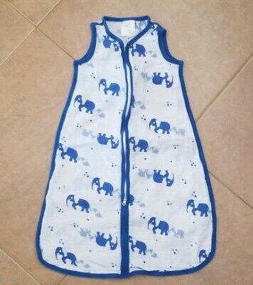 Baby Blue & White Sleep Sack with Elephants