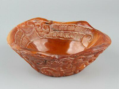 Chinese Exquisite Handmade Ganoderma beast Carving Ox Horn bowl