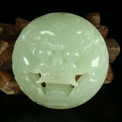 Chinese Exquisite Hand-carved beast Carving Hetian jade belt buckle statue
