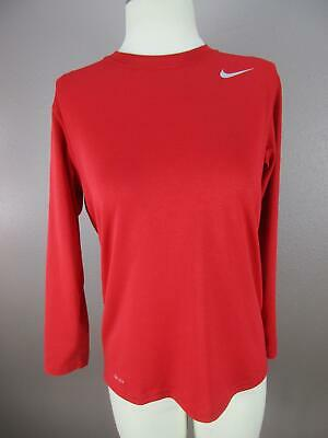 Nike Size L (14-16) Girls Red Long Sleeve Athletic Workout Sportswear Top 977