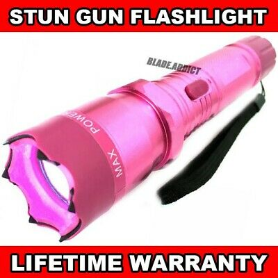 PINK METAL Military Tactical Stun Gun 999MV w/ LED Flashlight Self Defense Tool