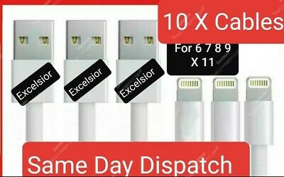 10- iPhone Super Fast Data Cable Apple iPad USB Charger Lightning Sync Charging