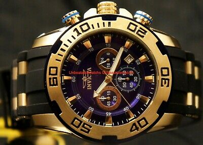 Invicta Mens Pro Diver Scuba 50MM Blue Dial Gold-Tone Chrono Rubber Strap Watch