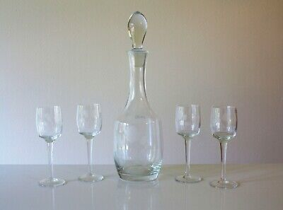 Toscany Hand Blown Hand Cut Crystal Wine Decanter and Set of 4 wine glasses