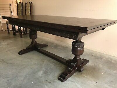 Jaycee solid oak Jacobean style drawer leaf refectory dining table