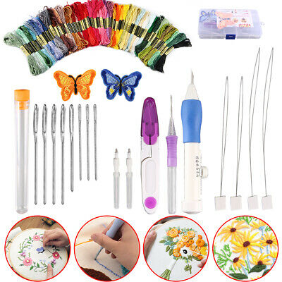 Magic DIY Embroidery Pen Knitting Sewing Tool Kit Punch Needle Set+50 Thread US