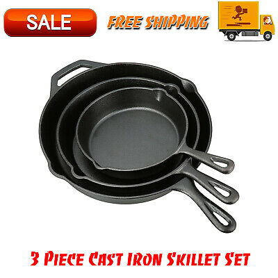 3 Piece Cast Iron Skillet Pan Set, Kitchen Home And Outdoors, Camping Cookware
