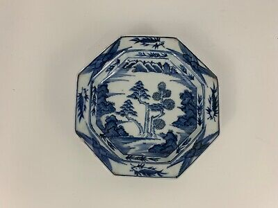 Vintage Possibly Antique Porcelain Asian Octagonal Plate with Forest Fish Dec