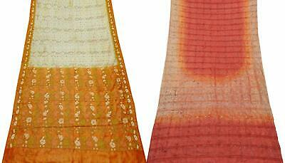Women's Pure Silk Saree Vintage DIY Craft 5 Yard Sari Fabric COM-PSSI-29