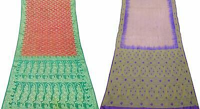 Women's Pure Silk Saree Vintage DIY Craft 5 Yard Sari Fabric COM-PSSI-93