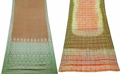 Indian Vintage Pure Silk Saree Women Sarong Dress Wrap Set of 2 Pcs COM-PSSI-13