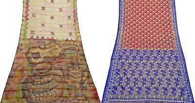 Indian Vintage Pure Silk Saree Women Sarong Dress Wrap Set of 2 Pcs COM-PSSI-113