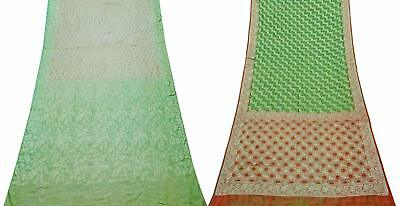 Pure Silk Combo of 2 Pcs Vintage Saree Indian Sari Craft Fabric COM-PSSI-70