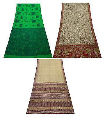 Pure Silk Combo of 3 Pcs Vintage Saree Indian Sari Craft Fabric COM-PSSI-144