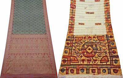 Indian Vintage Combo of 2 Pcs Saree Vintage Sari Sewing Craft Fabric COM-PSSI-36