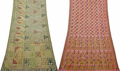 Vintage Pure Silk Saree Traditional Indian Sari Combo of 2 Pcs COM-PSSI-104