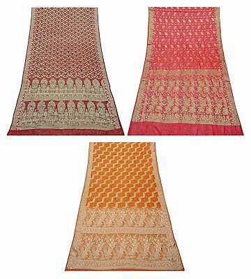 Vintage 100% Pure Silk Saree Traditional Indian Sari Combo of 3 Pcs COM-PSSI-171